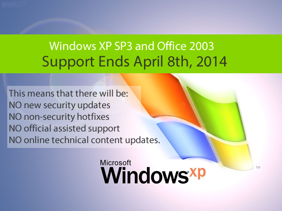 Windows XP and Office 2003 – End of Life – April 8th 2014
